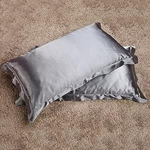 Magideal 2x Silky Soft Satin Standard Pillow Cushion Cover Pillowcase Bed Decor-Gray