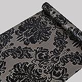 Glow4u Vinile adesivo decorativo nero damascato Contact Paper per armadi porta Sheves cassettiera Wall Sticker Decal (45x 500,4cm)