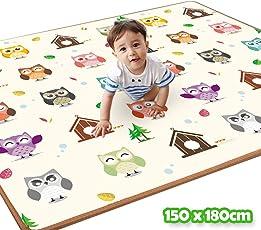 Bakaji Tappeto Gioco per Bambini Double Face Gufi e Numeri Super Tappetone Maxi Spessore in Schiuma Xeva Mat