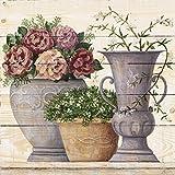 Artland Wand-Bild weiß lasiert Holz-Bild digital bedruckt mit Motiv A. S. Antike Blumen_hell Stillleben Vasen & Töpfe Botanik Malerei Creme 70 x 70 x 4,2 cm A5AK