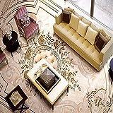 Weaeo 3D Relief Jade High-End-Europäischen Stil Boden Wandbild Gehweg Wohnzimmer Pvc Rutschfeste Boden Tapete-350X250Cm