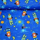MAGAM-Stoffe ''Judith - Space'' Kinder-Stoff | Jersey oder Baumwollstoff Öko-TEX Qualität | Meterware ab 50cm | OX (Baumwollstoff)