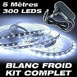 Kit complet Ruban LED Professionnel Flexible Waterproof - 5 Mètres - 300 LEDS - Couleur Blanc Froid - 3528