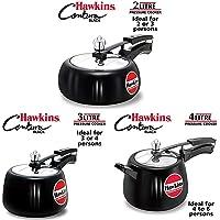 Hawkins Contura Hard Anodised Aluminium Pressure Cooker, 2L + 3L + 4L Combo