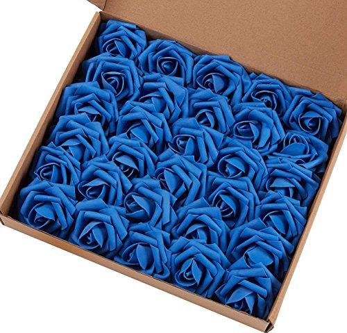 Marry Handeln Künstliche Blumen Rose, 30Stück Echte Touch Künstliche Rosen für Heimwerker Sträuße Hochzeit Party Baby Dusche Home Decor 60pcs Royal Blue