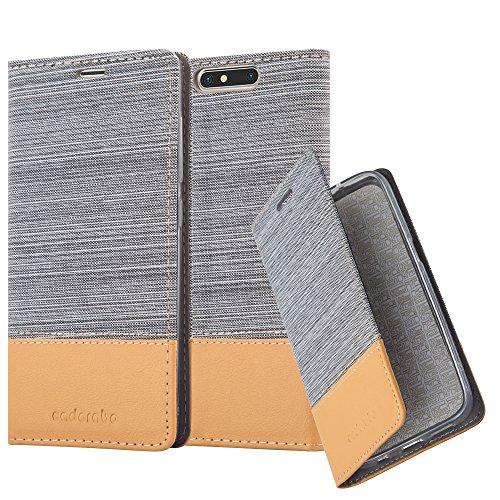 Cadorabo Hülle für ZTE Blade V8 - Hülle in HELL GRAU BRAUN – Handyhülle mit Standfunktion und Kartenfach im Stoff Design - Case Cover Schutzhülle Etui Tasche Book