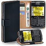 Pochette OneFlow pour BlackBerry Bold 9700 housse Cover avec fentes pour cartes | Flip Case étui housse téléphone portable à rabat | Pochette téléphone portable étui de protection accessoires téléphone portable protection bumper en DEEP-BLACK