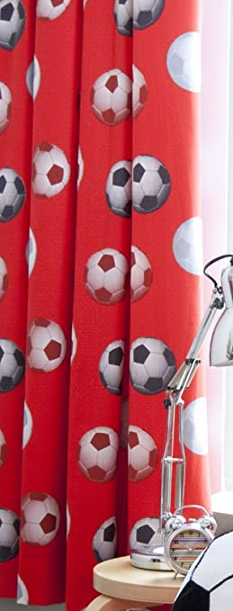 Catherine Lansfield Kids Football Curtains - Red: Amazon.co.uk ...
