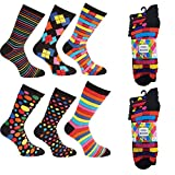 Ayra® - 12 Pairs of Mens VIVID Odd Stripes and Spots Socks