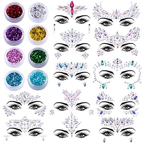 SIQUK 12 Sets Gesicht Edelsteine Meerjungfrau Gesicht Juwelen mit 8 Boxen Gesicht Glitter Strass Temporäre Tattoos Aufkleber Kristalle Gesicht Juwelen Aufkleber für Rave Festival Party - Körper Kristalle