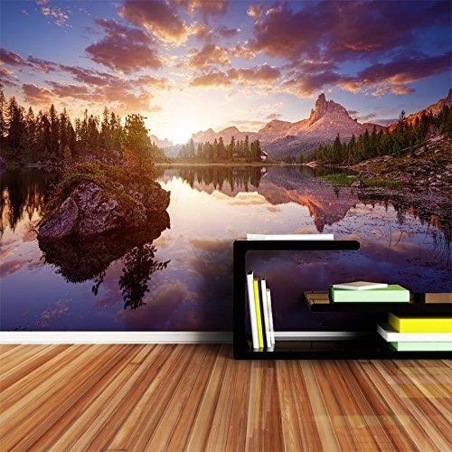 WH-PORP Seestück-Tapete 3D stereoskopisch für Wände River See-Sonnenuntergang-Himmel-Malerei-200cmX140cm