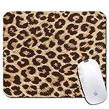 Tapis de souris rectangle personnalisé, motif imprimé léopard, tapis de souris personnalisé confortable en caoutchouc antidérapant (9.45x7.87inch)