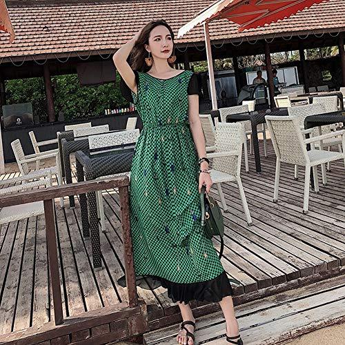 YAN Ladies ' Dress Spring Summer Chiffon Round Neck Short Sleeve Long Robe Large Swing Dress Beach Holiday Dress,Green,M - Green Holiday Kleid