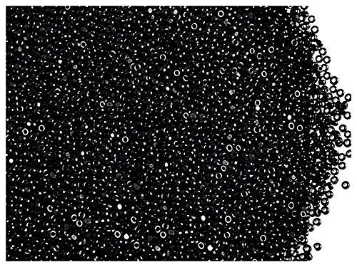 10 Gramm (ca. 6250 Stück) Tschechische Glas Cut Rocailles Preciosa, Größe 15/0 (1,4mm - 1,5mm), Rundloch, Farbe: Jet Black Luster (Rocailles 0 15 Schwarz)