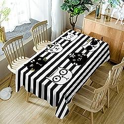 GuDoQi rayas negras con gato mantel cubierta de tabla rectángulo tela de poliéster tamaño clasificado Para Cocina Comedor Sobremesa Decoración