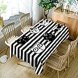 GuDoQi rayas negras con gato mantel cubierta de tabla rectángulo tela de...