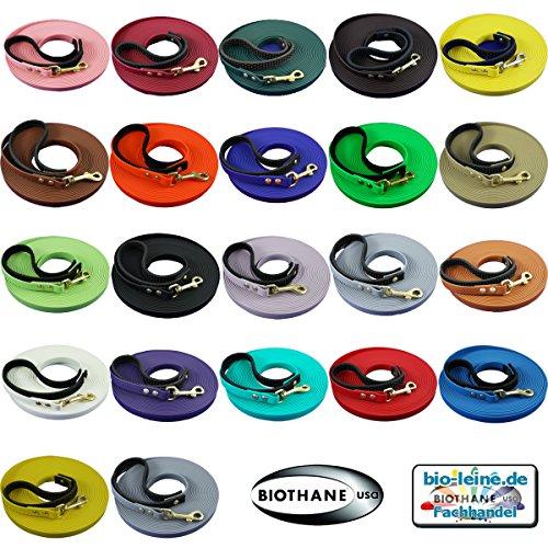 BioThane® Schleppleine für kleine und große Hunde, abnehmbare Handschlaufe, 12mm breit, 5-20 Meter, 5 Farben, schmutz- und Wasserabweisende Hundeleine