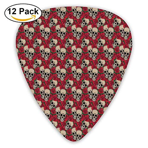 Graphic Skulls And Red Rose Blossoms Halloween Inspired Retro Gothic Pattern Decorative Guitar Picks 12/Pack