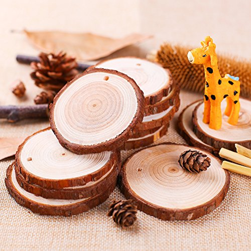 """Fuyit Natural Wood Slices 30 Pcs 2.8""""- 3.1"""" Drilled Hole Unfinished Log Wooden Circles for DIY Crafts Wedding Decorations Christmas Ornaments with Free Gifts"""