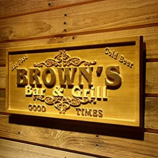AdvPro Wood Custom wpa0071 Name Personalized Bar & Grill Good Times Beer Wine Home Bar Décor 3D Engraved Wooden Sign - Standard 58.5 cm x 23.4 cm