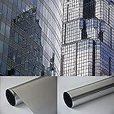 Fensterfolie - Meterware Spiegelfolie , Chrom Silber 100 cm x 61 cm - Rollenbreite 61cm Chrom Spiegel Folie Sonnenschutzfolie - viele Längen , Breiten und Farben wählbar