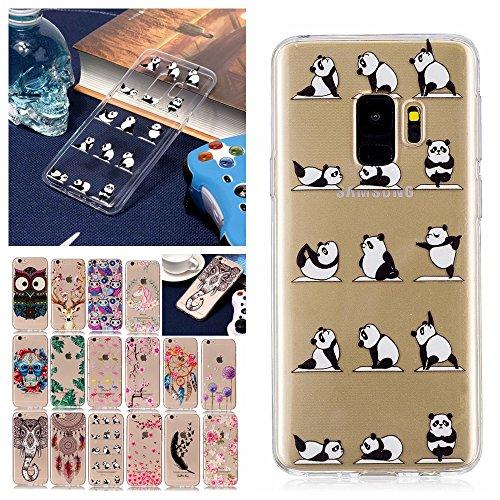 S9 Plus Hülle Transparent mit Muster Panda Emoji Ultra Dünn Durchsichtig Silikon Gummi Bumper Etui Schutzhülle Tasche Handyhülle ()