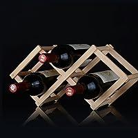 ICYANG Étagère à vin pliable en bois rouge pour 3 bouteilles de cuisine bar, restaurant, vin, étagère de rangement…