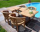 Rustikale Super Edle TEAK Gartengarnitur Gartenset Gartenmöbel Ausziehtisch 150-200cm + 4 Sessel COCO Holz geölt von AS-S