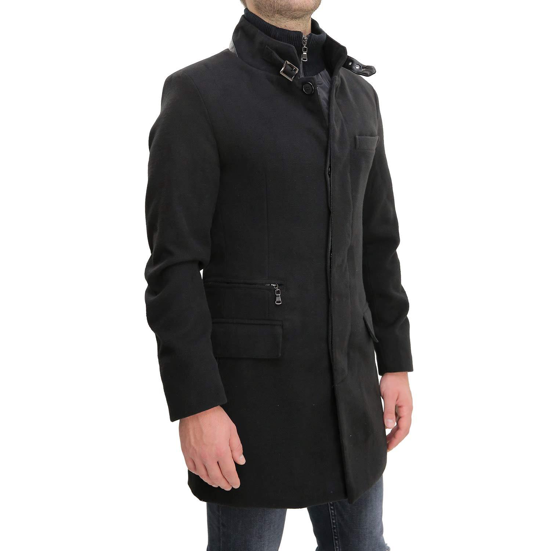 1ab50ed1bbd72 Cappotto Uomo Nero con Gilet Interno Invernale Lana Giaccone Elegante  Soprabito Lungo Sartoriale Casual   Cappotti   Abbigliamento - tibs