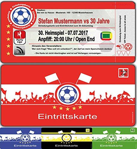 Einladungskarten als Fussballtickets zum Fussball-Geburtstag Feier Party Ticket - 60 Stück Fussballticket Karten Einladung