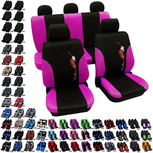 Preisvergleich Produktbild Woltu 7287-a Auto Sitzbezug Sitzbezüge Schonbezüge Universal komplettset mit Blumen Schwarz-Violett