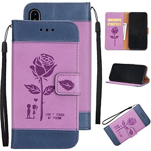 Gemischte Farben Rose Blume matt Premium PU Leder Brieftasche Stand Case Cover mit Lanyard & Card Slots für iPhone X ( Color : Brown ) Purple