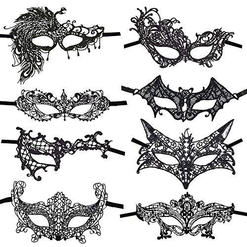 CODIRATO Masquerade Maske Venezianische Maske, Sexy Spitzen Maske für Maskerade, Maskenball, Bühnenauftritte, Karneval, Laufstege, Modepartys(Schwarz)