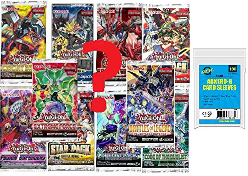 Yu-Gi-Oh! Karten Mystery Set: 10 zufällige Booster Packs auf deutsch + 100 Arkero-G YGO Kartenhüllen