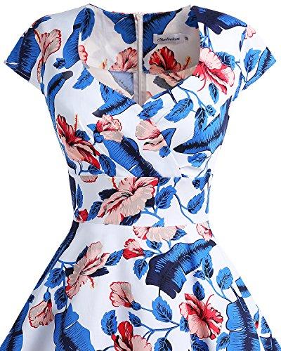 Bbonlinedress 1950er Vintage Retro Cocktailkleid Rockabilly V-Ausschnitt Faltenrock RoyalBlue Flower