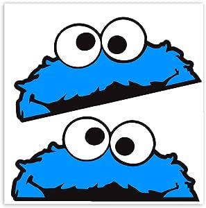 Skinoeu 2 StÜck Vinyl Aufkleber Stickers Autoaufkleber Sesamstraße KrÜmelmonster Elmo Cookie Monster Lustig Zeichen FÜr Fenster Auto Motorrad Fahrrad Tuning B 99 Auto
