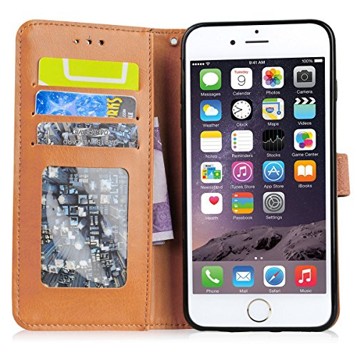 WE LOVE CASE iPhone 6 Plus / 6s Plus Schutzhülle iPhone 6 Plus Hülle , iPhone 6s Plus Lederhülle Im Retro Style Elegant Schwarz Muster Tasche Handytasche Backcover Stoßfest Protective Bumper Case Cove Lila