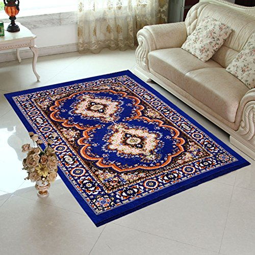 HOME ELITE Blue Colored Traditional Design Jute Filling Sheet Carpet (5 x7...