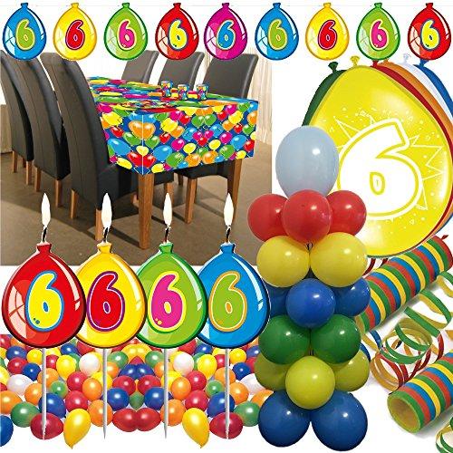 63-teiliges Deko-Set für den * 6. GEBURTSTAG * // mit Tischdecke, Wimpelkette, Geburtstagskerzen, Luftballons, Ballon-Haltern und Luftschlangen // Dekoration Kinder Kindergeburtstag sechster bunt Kerzen