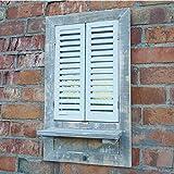 Shutter puerta ventana de madera rústico jardín baño espejo de pared y estantería de...