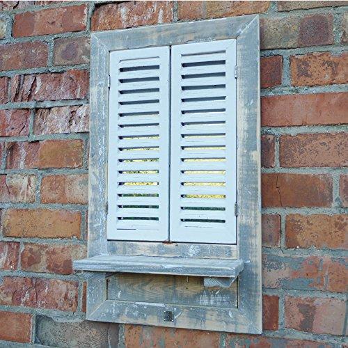Shutter puerta ventana de madera rústico jardín baño espejo de pared y estantería de 68cm