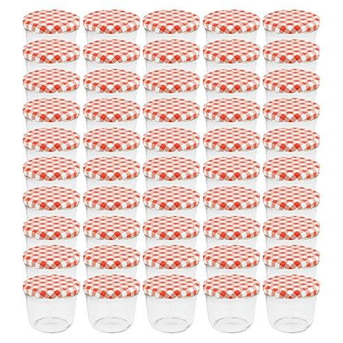 WELLGRO Einmachgläser mit Schraubdeckel - 230 ml, 8,5 x 6,5 cm (ØxH), Glas/Metall, rot karierte Deckel To 82, Gläser Made in Germany, verschiedene Mengen wählbar, Stückzahl:50 Stück