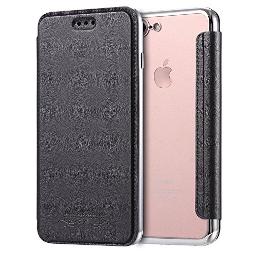VCOMP® Coque de Protection TPU Case Flip Rabat en cuir Avec Fente pour carte Ultra Slim Transparente cover pour Apple iPhone 6/ 6s - NOIR NOIR