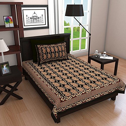 Ubania Collection Rajasthani Print Cotton Single Bedsheet with 1 Pillow Covers -...