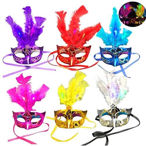 Maske Maskenball Feder (Pixnor LED Feder Maske Karneval Maskerade Partei Feder LED Masken Pack 6)