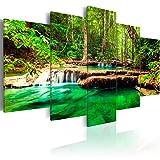 murando - Bilder 200x100 cm Vlies Leinwandbild 5 TLG Kunstdruck modern Wandbilder XXL Wanddekoration Design Wand Bild - Wasserfall Natur Landschaft c-B-0036-b-n
