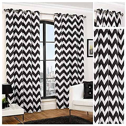 Hamilton McBride Chevron Black Ring Top / Eyelet Fully Lined Readymade Curtain Pair 66x72in(167x182cm) Approximately