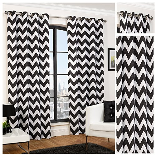 hamilton-mcbride-chevron-black-ring-top-eyelet-fully-lined-readymade-curtain-pair-66x72in167x182cm-a