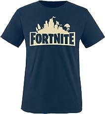 Comedy Shirts - Fortnite Schloss - Jungen T-Shirt - Rundhals, 100% Baumwolle, Top Basic Print-Shirt