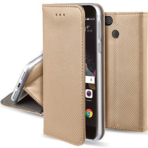 Moozy Hülle Flip Case für Huawei P8 Lite 2017, Gold - Dünne Magnetische Klapphülle Handyhülle mit Standfunktion